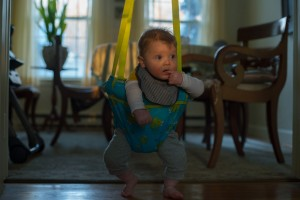 BB James bouncing on the swing